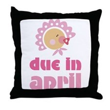 April Baby in Bonnet Due Date Throw Pillow