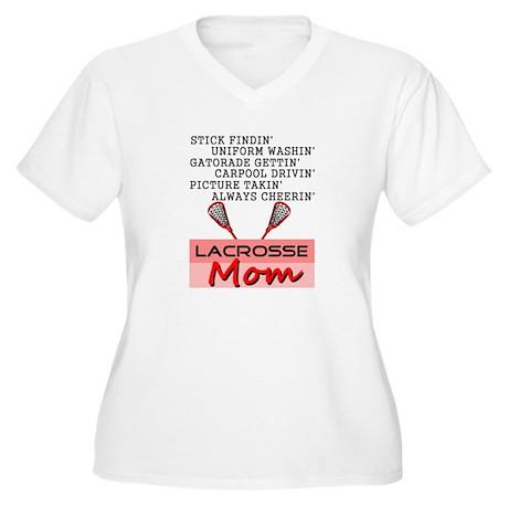 LACROSSE MOM Women's Plus Size V-Neck T-Shirt