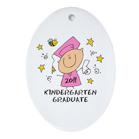Cute Girl Kindergarten Grad 2011 Ornament (Oval)