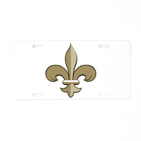 Fleur de lis black gold Aluminum License Plate