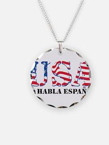 USA No Habla Espanol Necklace