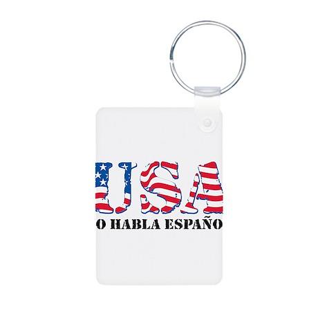 USA No Habla Espanol Aluminum Photo Keychain