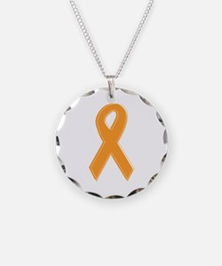 Orange Aware Ribbon Necklace Circle Charm