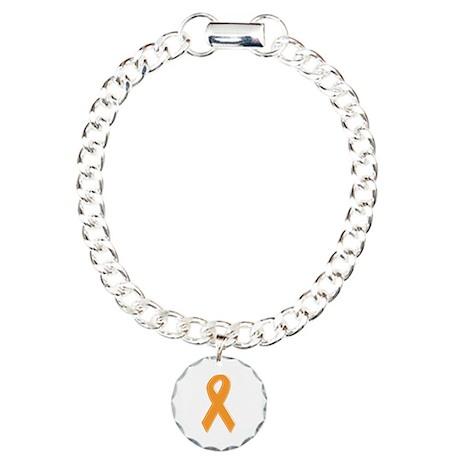 Orange Aware Ribbon Charm Bracelet, One Charm