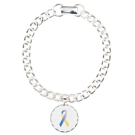 BlueYellow Ribbon Charm Bracelet, One Charm