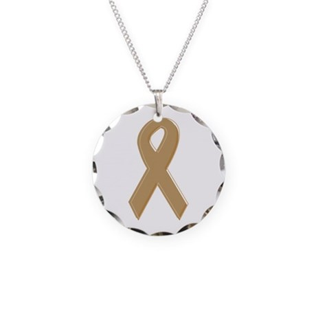 Gold Awareness Ribbon Necklace Circle Charm