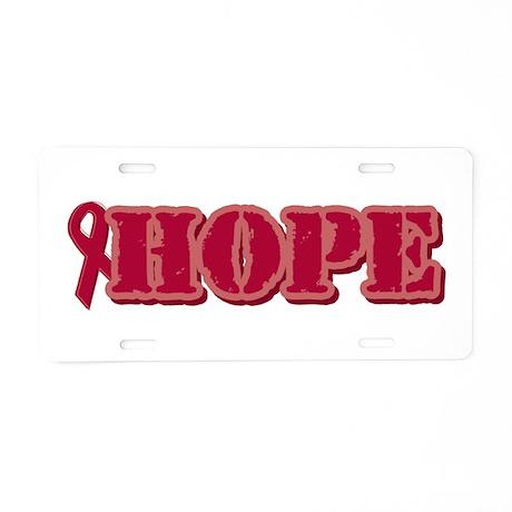 Burgundy Hope Ribbon Aluminum License Plate