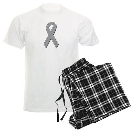 Gray Silver Awareness Ribbon Men's Light Pajamas