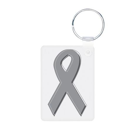 Gray Silver Awareness Ribbon Aluminum Photo Keycha