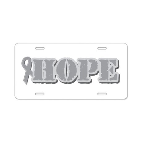 Silver Hope Ribbon Aluminum License Plate