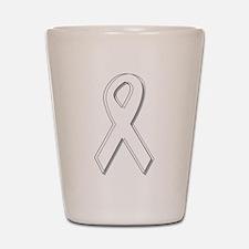 White Awareness Ribbon Shot Glass