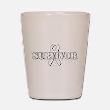 White Ribbon Survivor Shot Glass