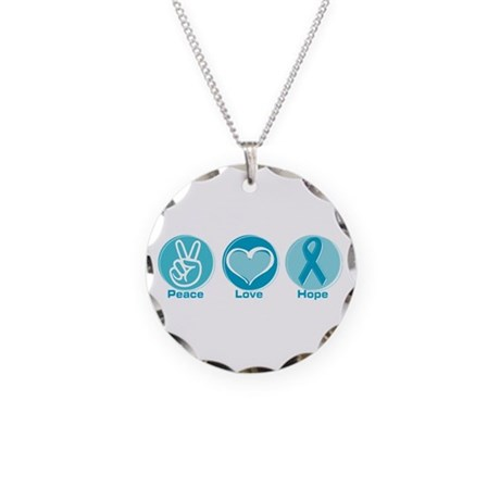 Peace Love Teal Hope Necklace Circle Charm