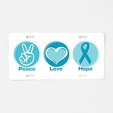 Peace Love Teal Hope Aluminum License Plate