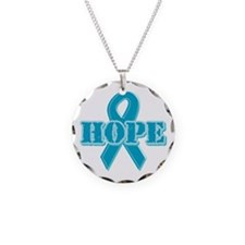 Teal Hope Ribbon Necklace