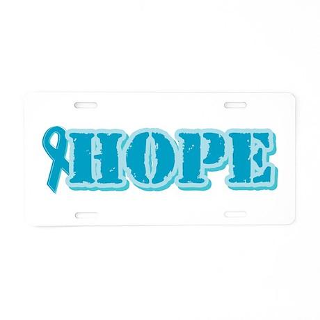 Teal Hope Ribbon Aluminum License Plate