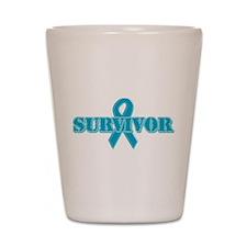 Teal Ribbon Survivor Shot Glass