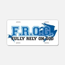 FROG blue Aluminum License Plate