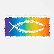 Retro Jesus Fish Aluminum License Plate