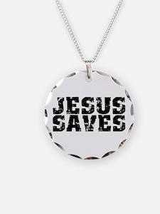 Jesus Saves bk Necklace Circle Charm