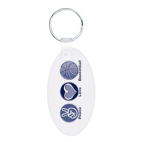 Peace Love Basketball Aluminum Oval Keychain