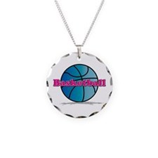Basketball PkBl Necklace Circle Charm