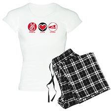 Peace Love Cheer Red Pajamas