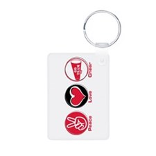 Peace Love Cheer Red Aluminum Photo Keychain