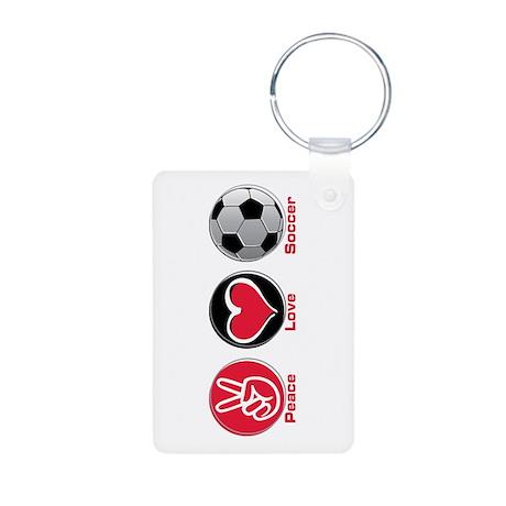 Peace Love Soccer Aluminum Photo Keychain