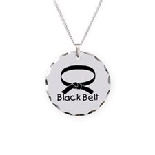 Black Belt Necklace Circle Charm