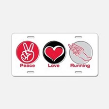 Peace Love Running Aluminum License Plate