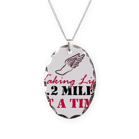Taking Life 6.2 miles Necklace Oval Charm
