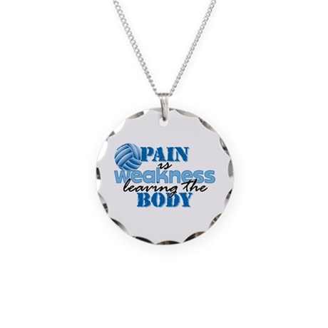 Pain is weakness vball Necklace Circle Charm