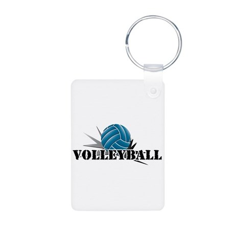 Volleyball starbust blue Aluminum Photo Keychain