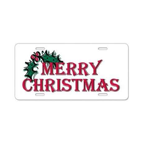 Merry Christmas Holly Aluminum License Plate