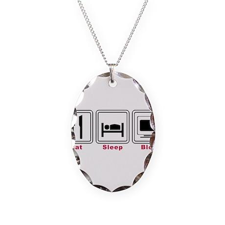 Eat Sleep Blog Necklace Oval Charm
