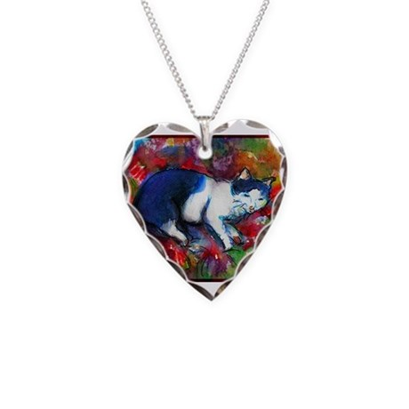 Colorful, Cat, Necklace Heart Charm