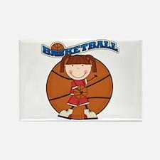 Brunette Girl Basketball Rectangle Magnet