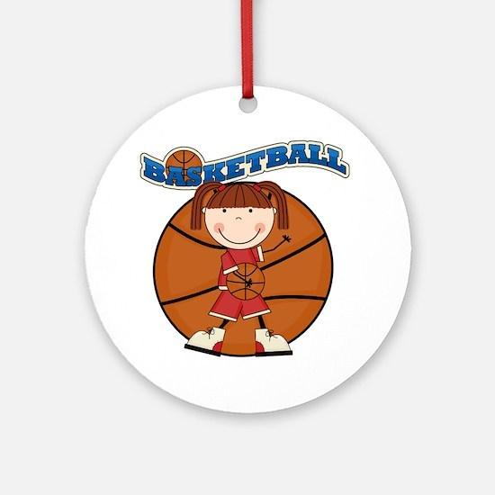 Brunette Girl Basketball Ornament (Round)