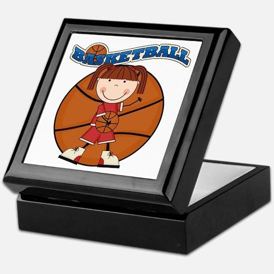 Brunette Girl Basketball Keepsake Box