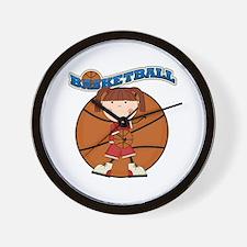 Brunette Girl Basketball Wall Clock
