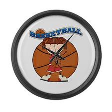 Brunette Girl Basketball Large Wall Clock