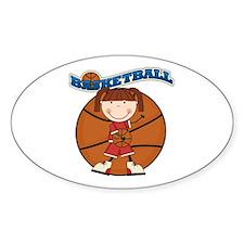 Brunette Girl Basketball Decal
