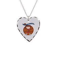 Brunette Girl Basketball Necklace