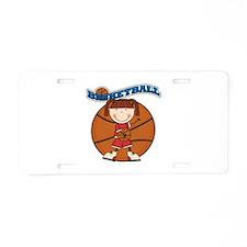 Brunette Girl Basketball Aluminum License Plate