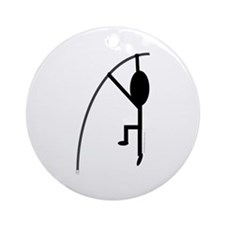 Black Pole Vaulter Ornament (Round)