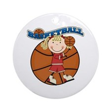 Blond Girl Basketball Ornament (Round)