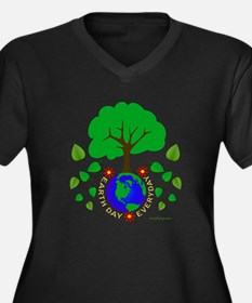 Earth Day Ev Women's Plus Size V-Neck Dark T-Shirt