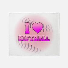 I Love Softball (Pink Softball) Throw Blanket