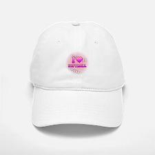 I Love Softball (Pink Softball) Baseball Baseball Cap